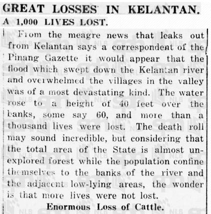 Keratan Akhbar The Singapore Free Press bertarikh 24 Januari 1927 melaporkan tentang Bah Merah.