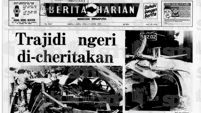 Berita Harian, 1hb April, 1972. Ehsan National Library Board Singapore.