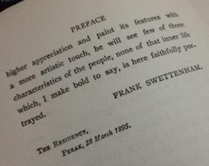 Prakata buku 'Malay Sketches' hasul tulisan Frank Swettenham yang turut menunjukkan tahun buku itu dihasilkan